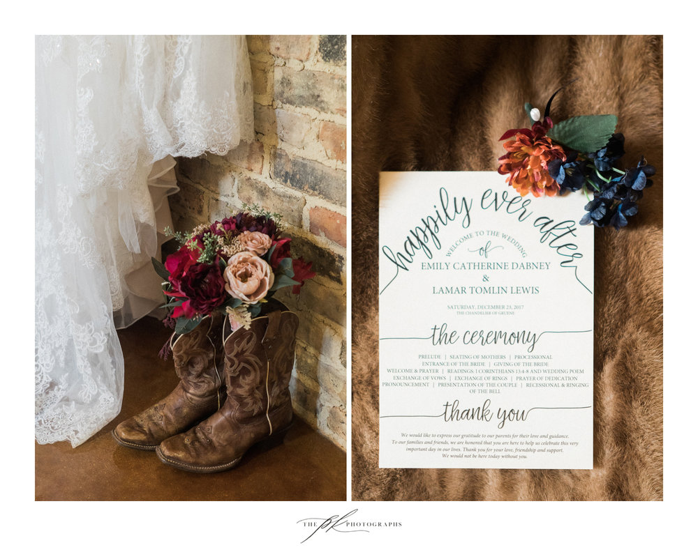 Cowgirl boots and flowers, important parts of any Texas bride's wedding day.
