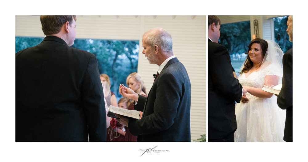 The exchanging of the rings during Emily and Lamar's wedding ceremony in the open air chapel at the Chandelier of Gruene