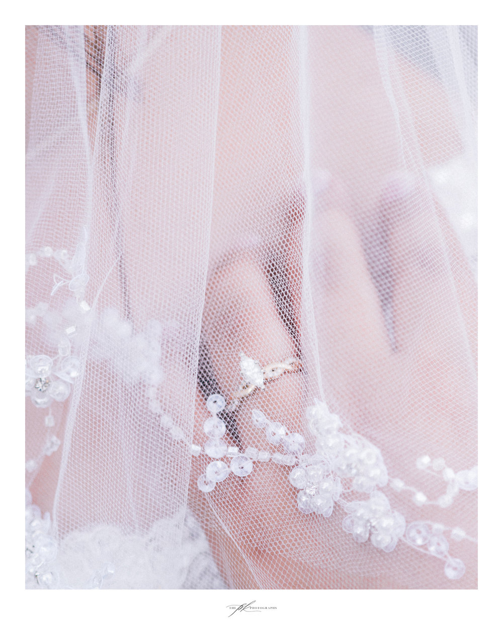Emily's veil and custom designed engagement ring.