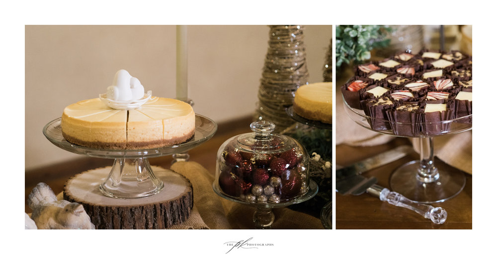 Christmas themed cheesecake table at the Chandelier of Gruene.