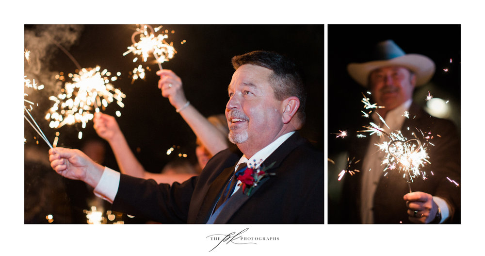 Guests prepared to wish Emily and Lamar farwell during the sparkler exit at the end of their wedding reception at the Chandelier of Gruene.