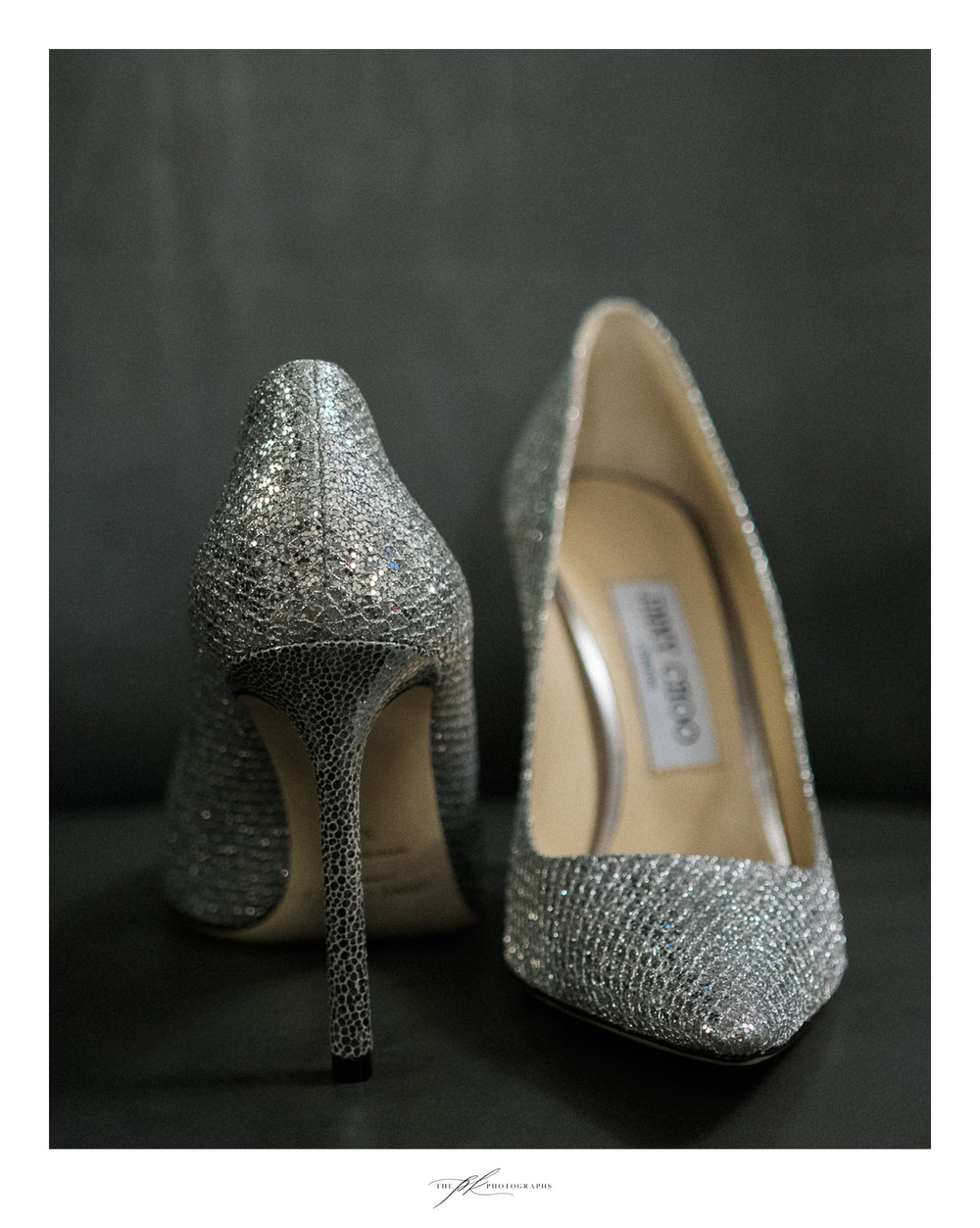 Jimmy Choo silver bridal shoes.