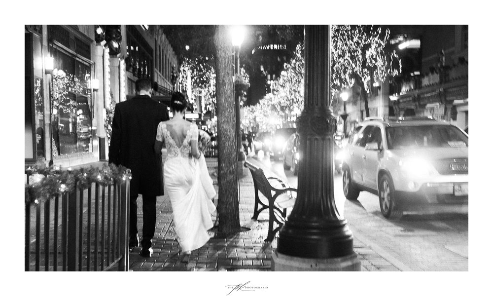 Bride and groom downtown San Antonio.