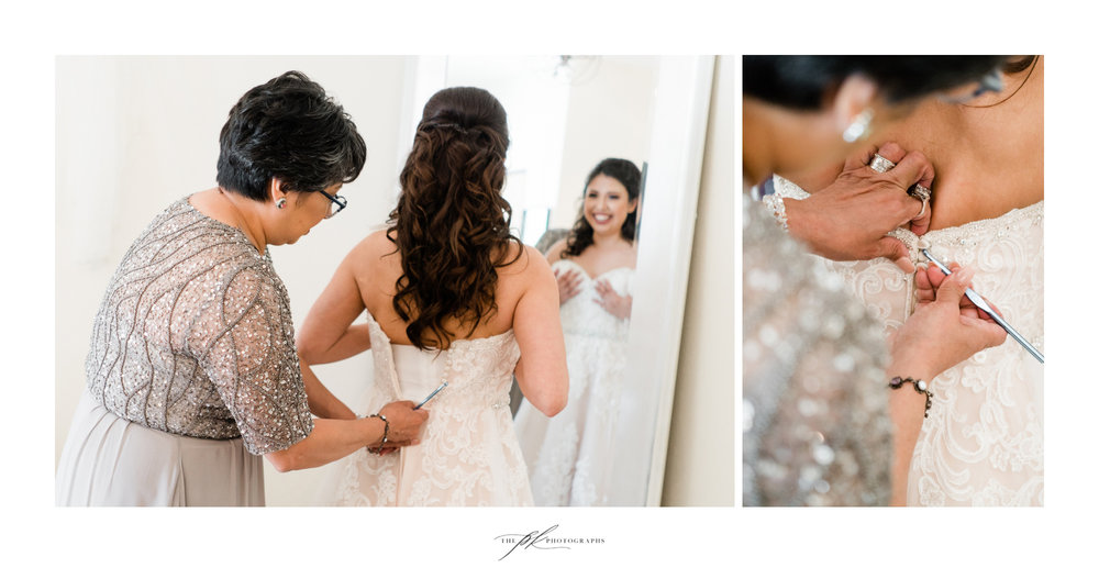 Bride getting ready for her wedding day at Magnolia Halle in San Antonio, Texas - Photographed by The PK Photographs