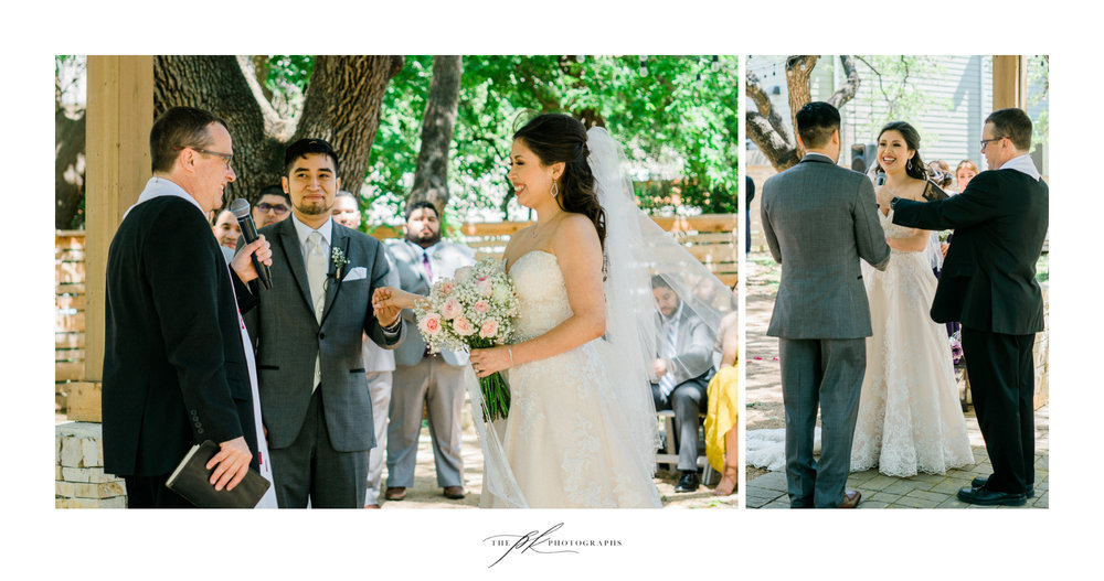 Bride and groom during their wedding ceremony at Magnolia Halle in San Antonio, Texas - Photographed by The PK Photographs