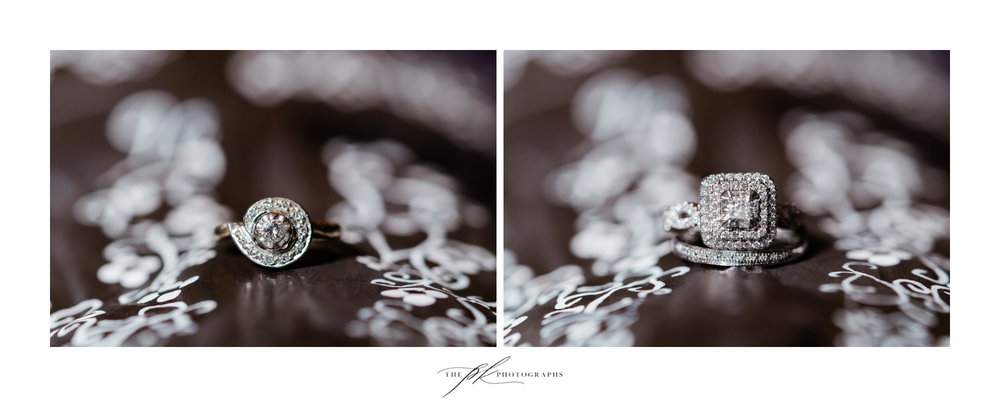 The bride's grandmother's engagement ring on the left, and her own on the right at Magnolia Halle in San Antonio, Texas - Photographed by The PK Photographs