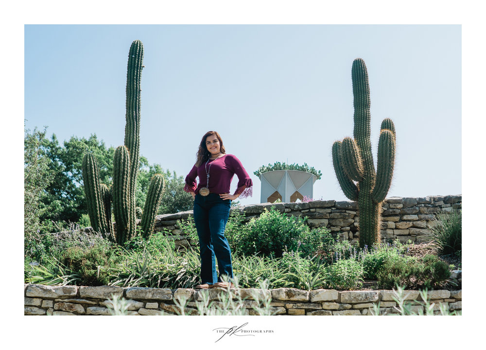 Senior portraits of Malorie at the San Antonio Botanical Gardens