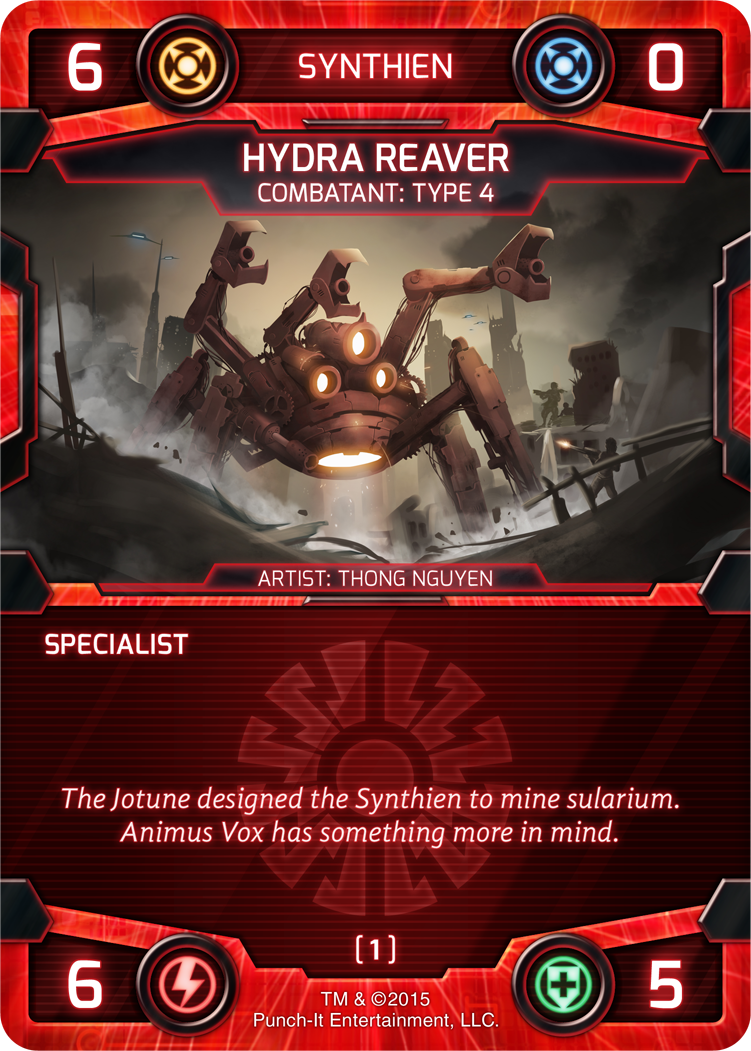Like the Hydra Reaver, most of the Synthien's combatants are huge!