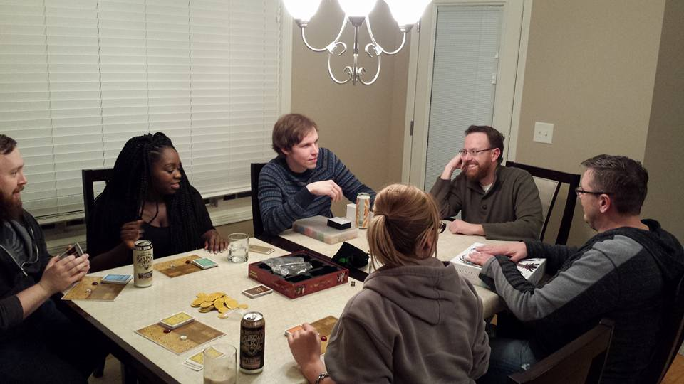 Games are best when shared with friends - (L to R) Frank Hruby, Australia Ann, Matt Greenleaf, Gina Milone, John Kimmel, and Jesse Bergman