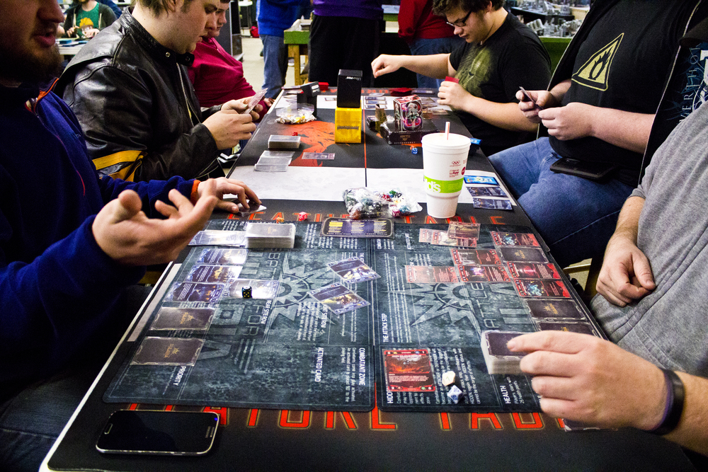Players battle it out on the table top at one of our release events.