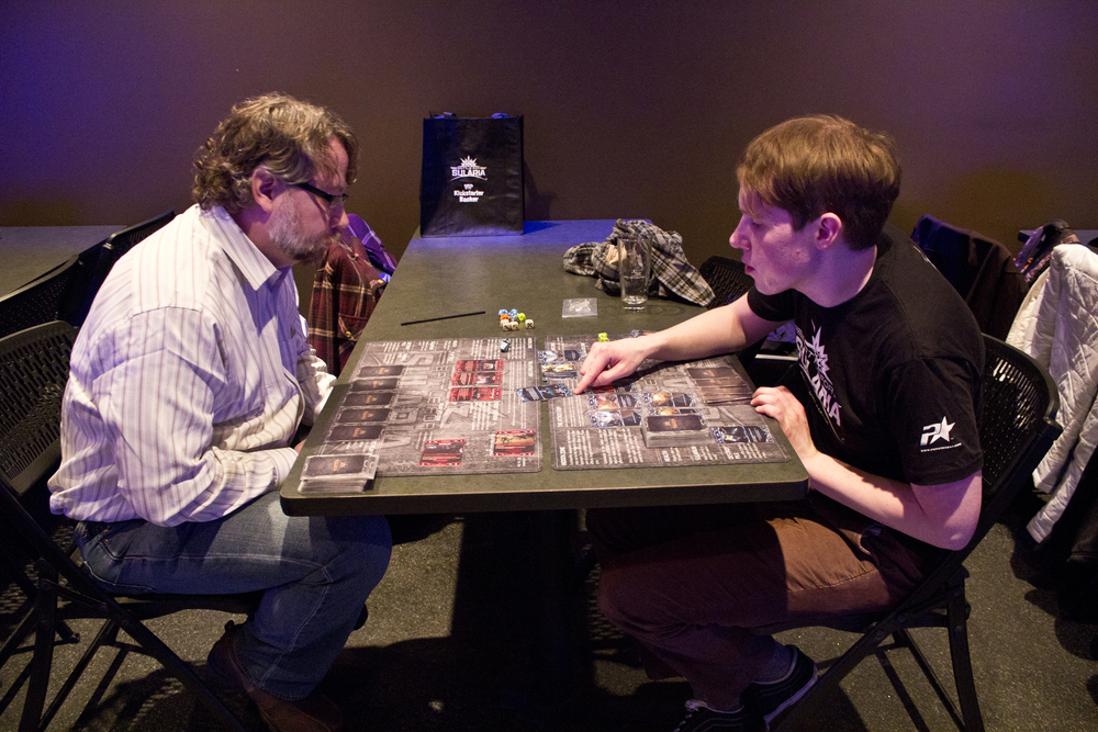 Lead Developer, Matt Greenleaf, shows Matthew W. the ropes in his first game.