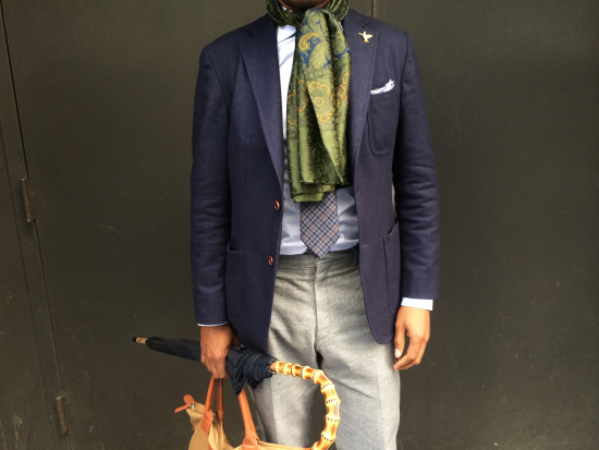 Jacket by Hardy Amies, shirt by Kamakura, tie and trousers by Brioni, 'Land of the Hummingbirds' pin by By Elias, umbrella by Kent Wang, O'Hare tote by Want Les Essentiels de la Vie