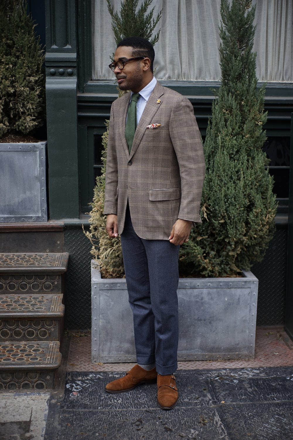 Trousers by Brioni, monk straps by Howard Yount
