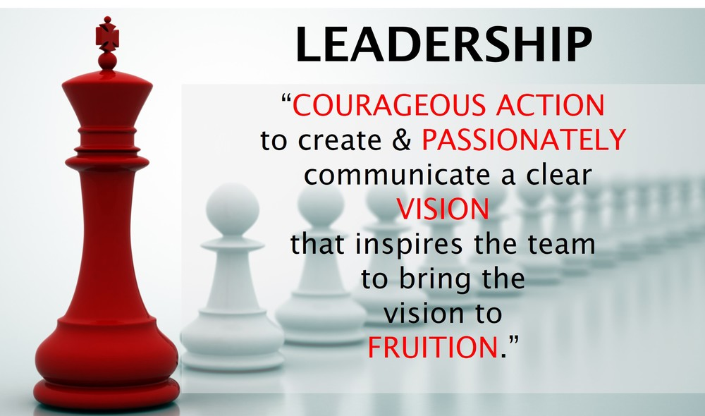 First, A Definition For Leadership. Leadership Is The Courageous Action To  Create And Passionately Communicate A Clear Vision That Inspires Oneu0027s Team  To ...