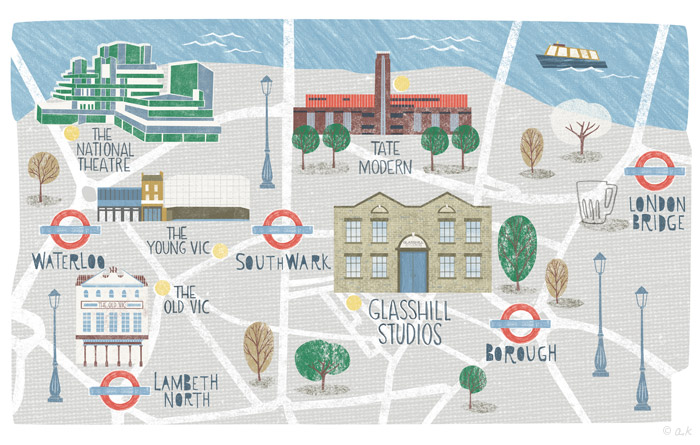 Illustrated map for Glasshill Studios London.