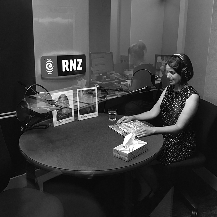 Here I am in the Auckland studio talking to Kathryn who was in the Wellington studio.