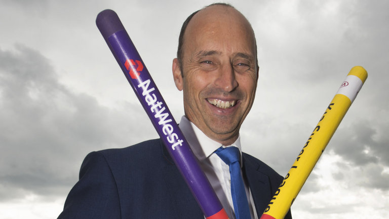 Commentator Nasser Hussain with Rainbow Stumps during the fourth day of the fourth test between England and South Africa