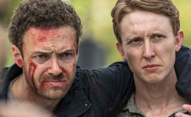 Ross Marquand and Jordan Woods-Robinson in The Walking Dead. Credit: Attitude.co.uk