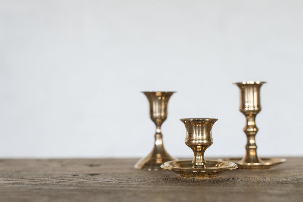 Vintage Brass Candlesticks (Short//Varied)