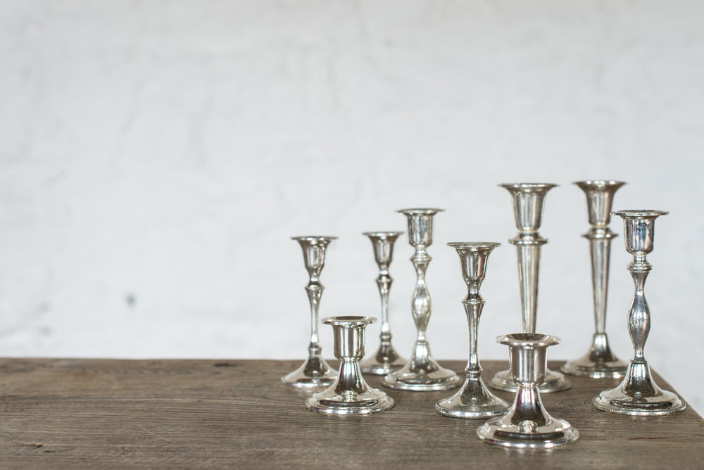 Vintage Silver Plate Candlesticks (Varied)