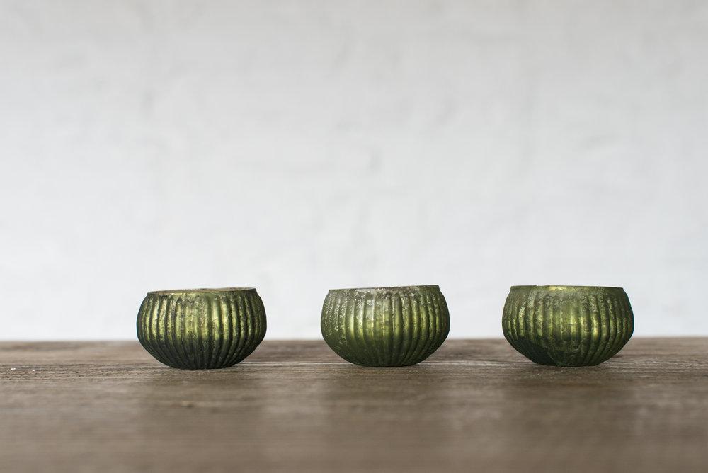 Green Mercuried Glass Tealight Holders