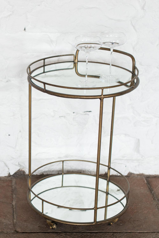 Brass & Mirror Drinks Trolley