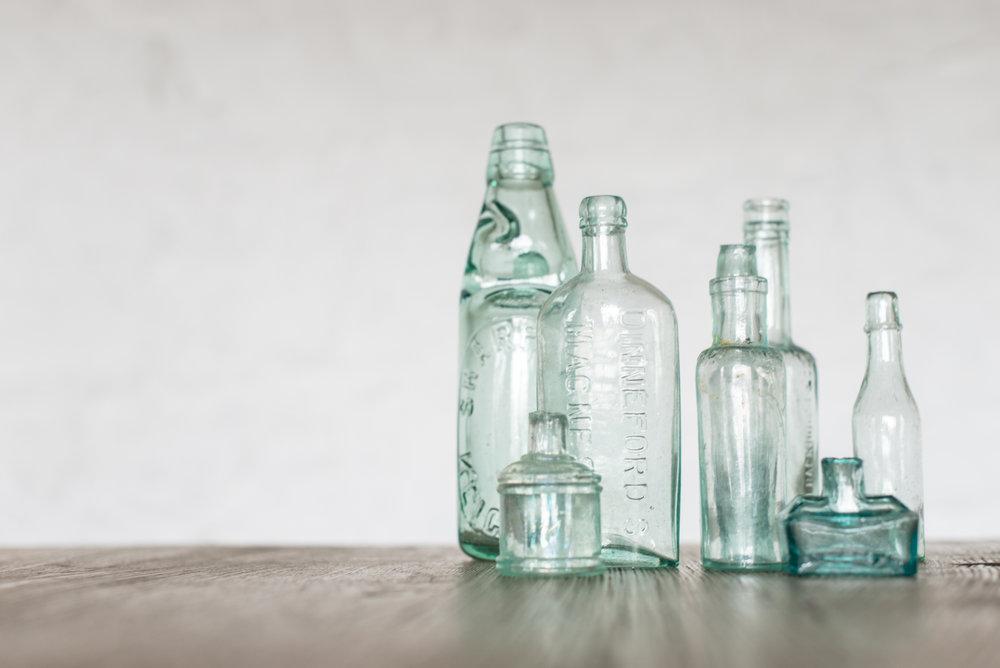 Vintage Green Bottle Bud Vases (Various)