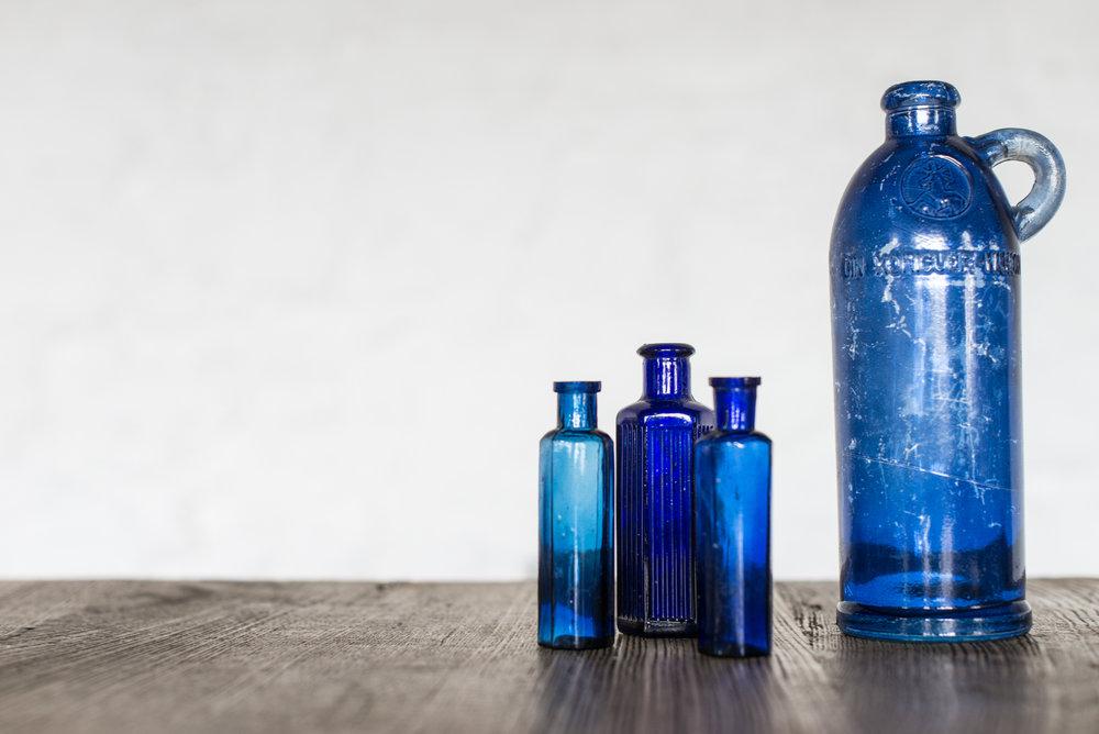Vintage Blue Bottles (Various)