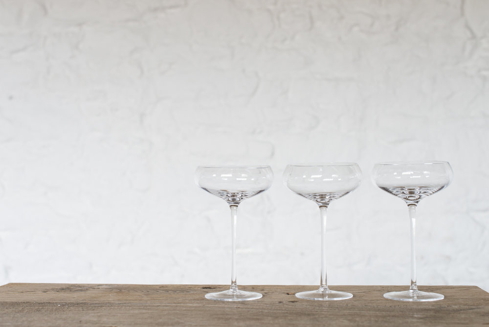 Hand blown LSA Champagne Coupes