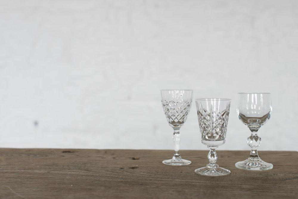 Vintage Cut Glass Dessert Wine Glasses (Various)