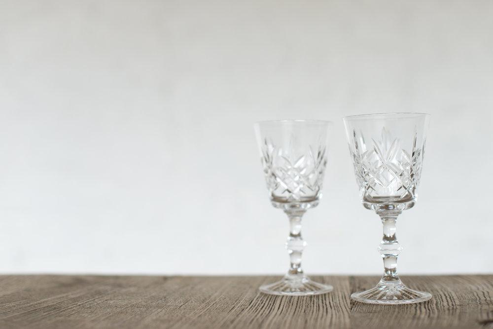 Vintage Cut Glass Wine Glasses (Various)