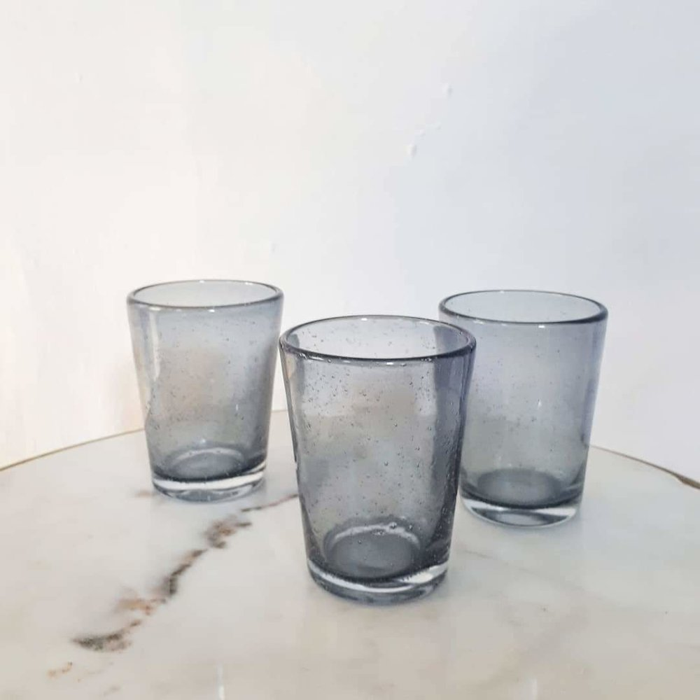 Blue Brostle Bubble Glass Tumblers