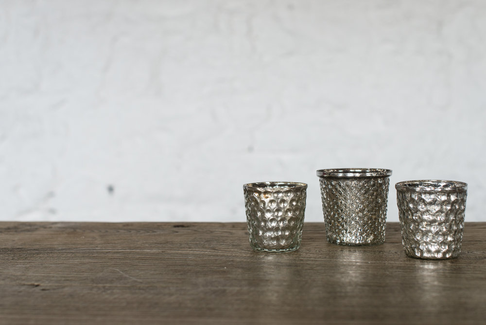 Mercuried Glass Tealight Holders (Small//Varied)