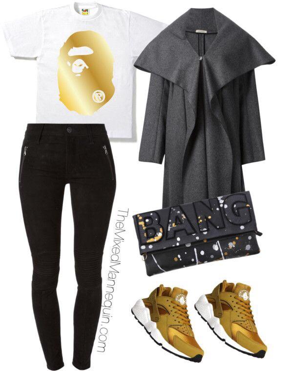 "Shirt: BAPE | Jeans: Hudson | Coat: Nina Ricci | Clutch: Elle Tarplin | Sneakers: Nike Huarache ""Bronzine"""