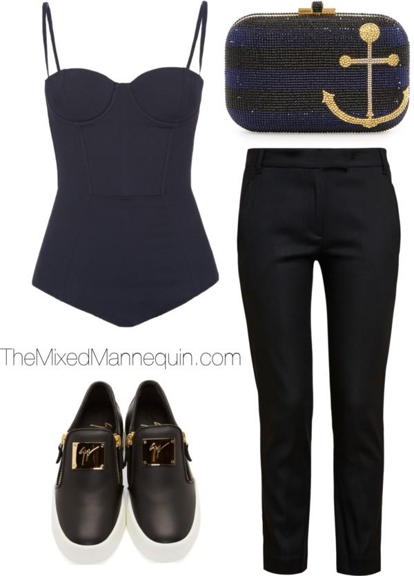 Bodysuit: Sass & Bide | Pants: Ann Demeulemeester | Shoes: Giuseppe Zanotti | Clutch: Judith Leiber Couture