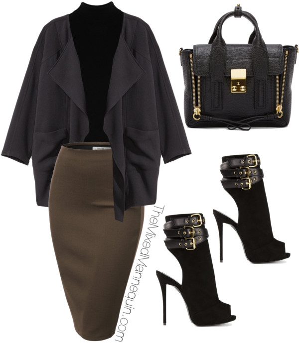 Jacket: H&M | Bodysuit:  Yummie by Heather Thomson | Skirt: Amazon | Bag: 3.1 Phillip Lim | Shoes: Giuseppe Zanotti