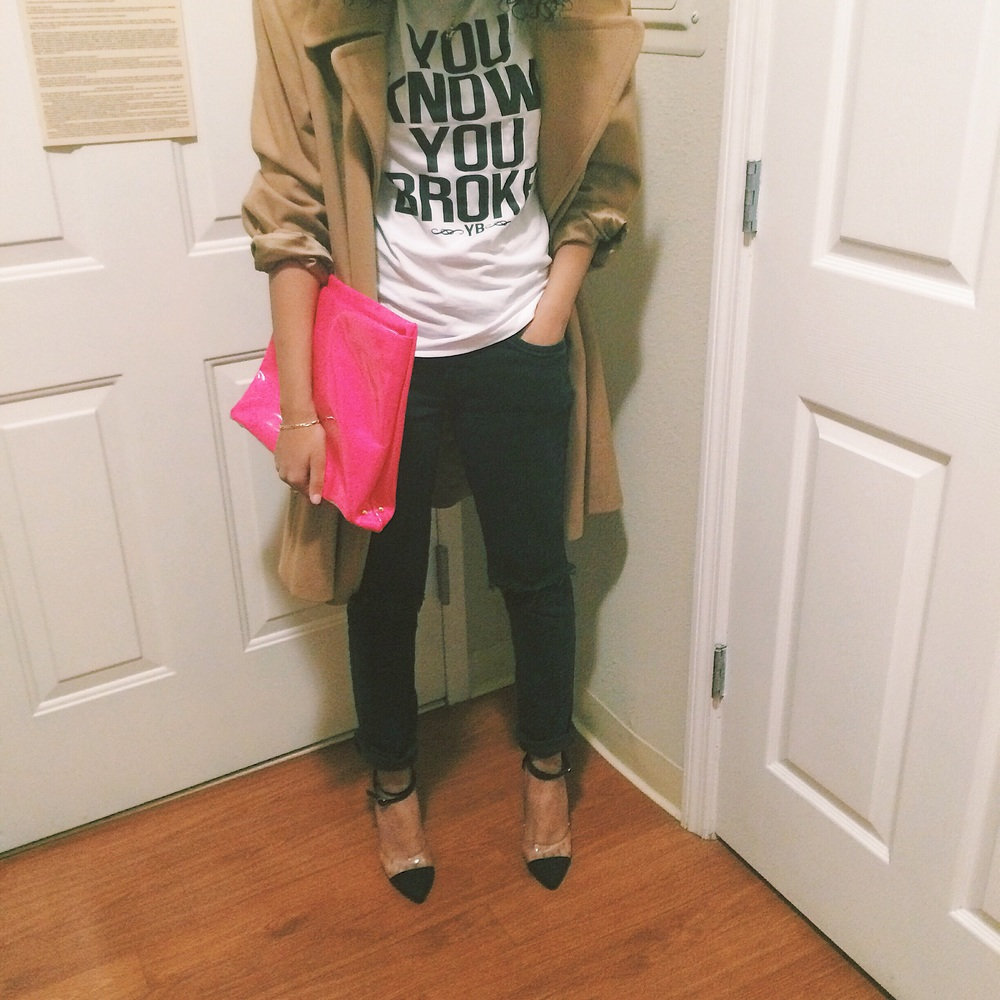 Jacket: Thrift | Shirt: YB | Jeans: Target (Distressed Myself) | Shoes: Lola Shoetique | Clutch: Nasty Gal