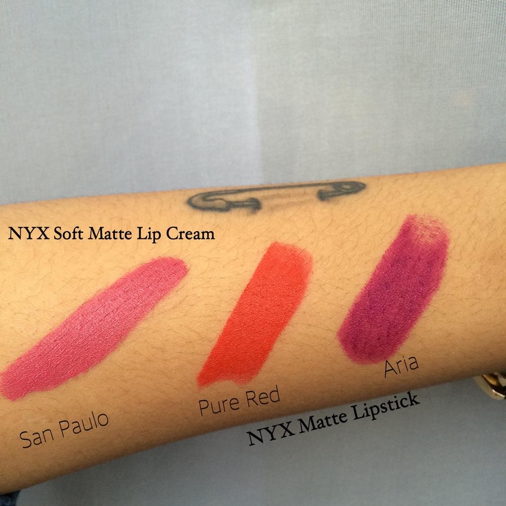 NYX Soft Matte Lip Cream in San Paulo, NYX Matte Lipstick Pure Red & Aria