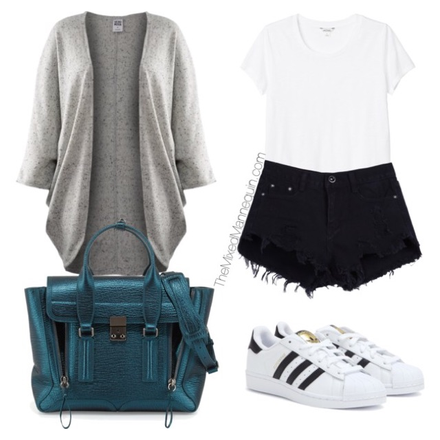 Cardigan: Vera Moda | Shirt: Monki | Shorts: Amazon | Bag: 3.1 Phillip Lim | Sneakers: Adidas