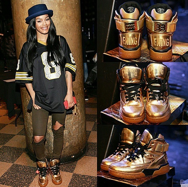 Teyana rockin' the second pair of kicks she designed.  The first was with Adidas.