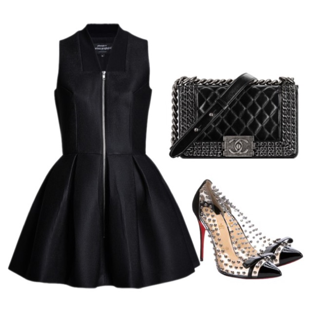 Dress:   Mariusz Przybylski | Shoes: Christian Louboutin | Bag: Chanel