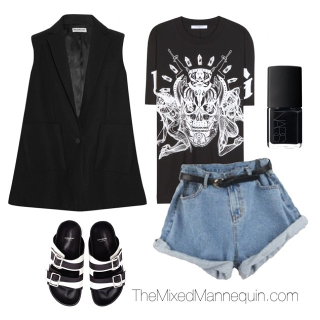 Vest: Balenciaga | Shirt: Givenchy | Shorts: Choies | Shoes: Givenchy | Nail Polish: NARS