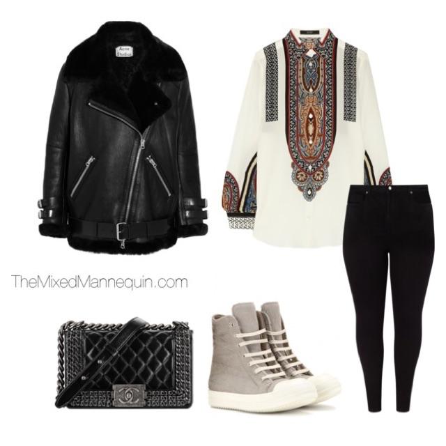 Jacket: Acne Studios | Shirt: Etro | Pants: Studio 8 | Sneakers: Rick Owens | Bag: Chanel