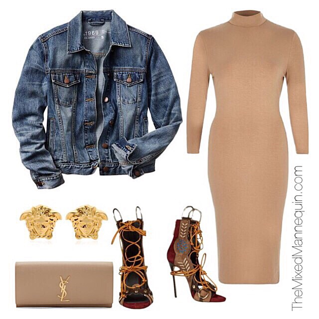 Jacket: GAP | Dress: River Island | Clutch: Saint Laurent | Shoes: DSquared2 | Earrings: Versace