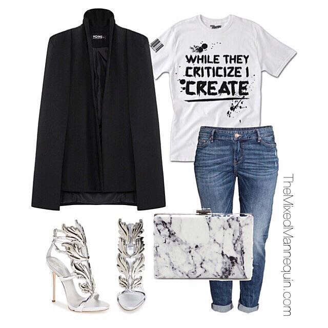 Blazer: Yoins | Shirt: Served Fresh | Jeans: H&M | Shoes: Giuseppe Zanotti | Clutch: Balenciaga