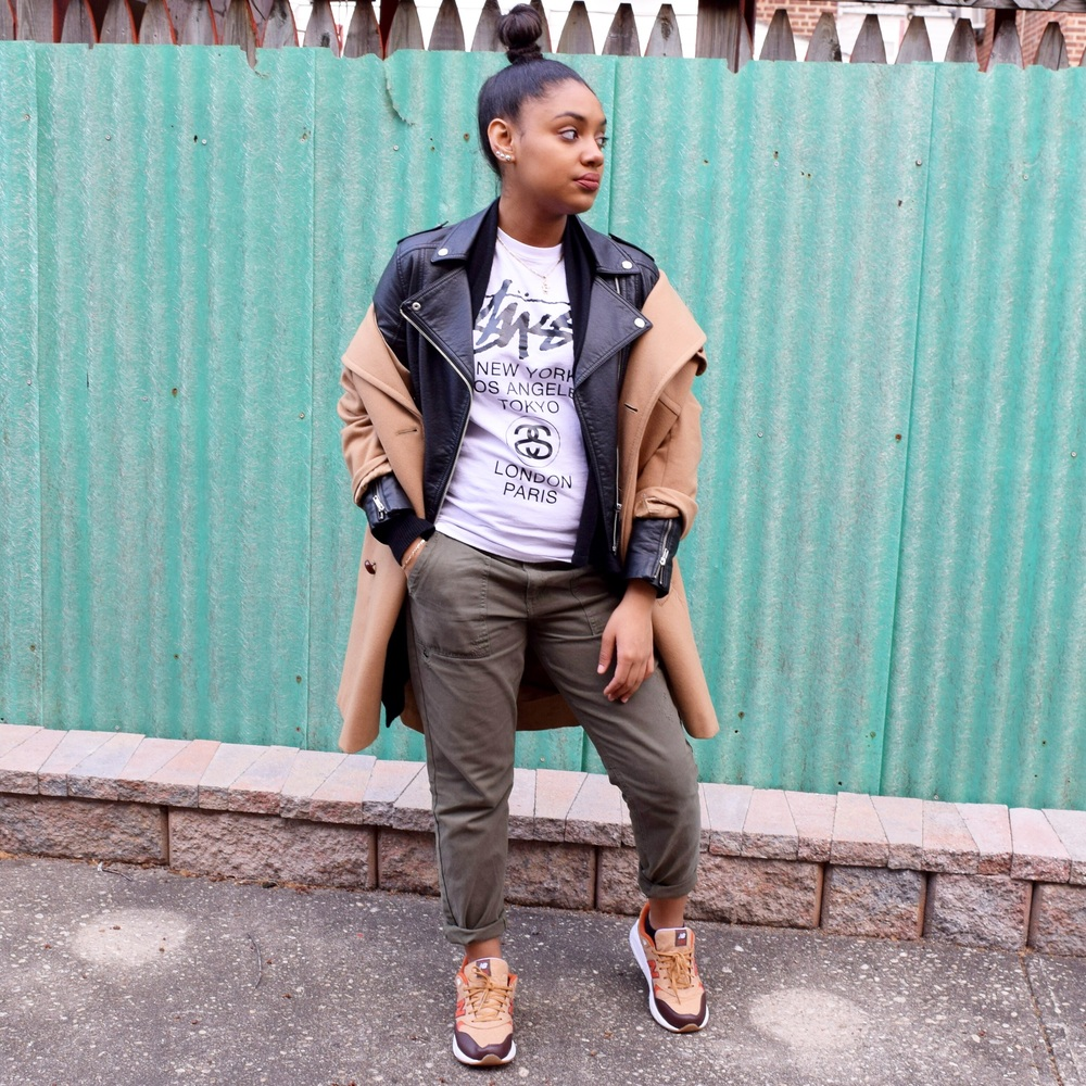 Shirt: Stussy | Coat: Thrift | Jacket: H&M | Pants: Forever 21 | Sneakers: New Balance