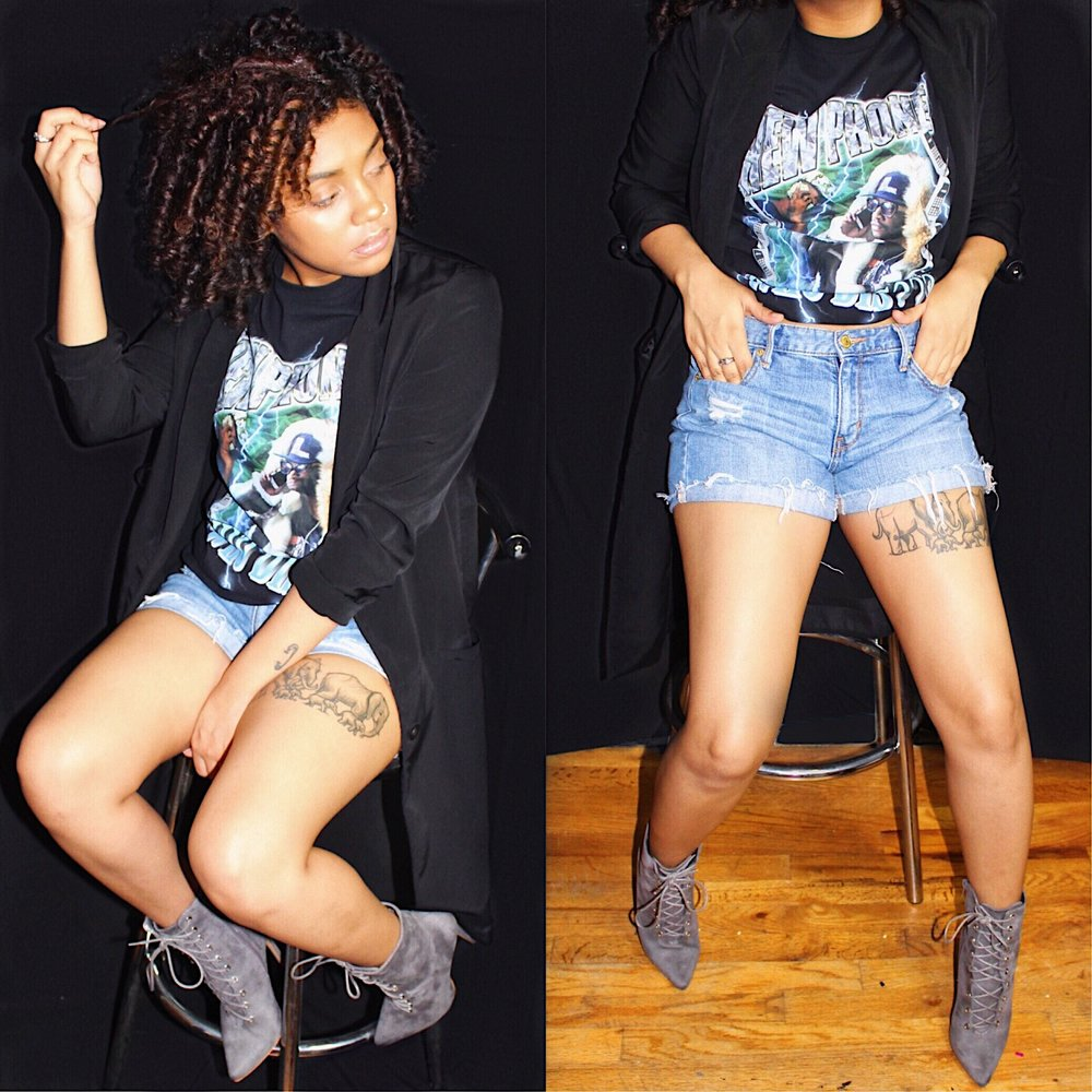 Jacket: H&M | Shirt: Slim Dollars' NPWD Merch | Shorts: Target (Cut boyfriend jeans into shorts) | Shoes: Lolashoetique