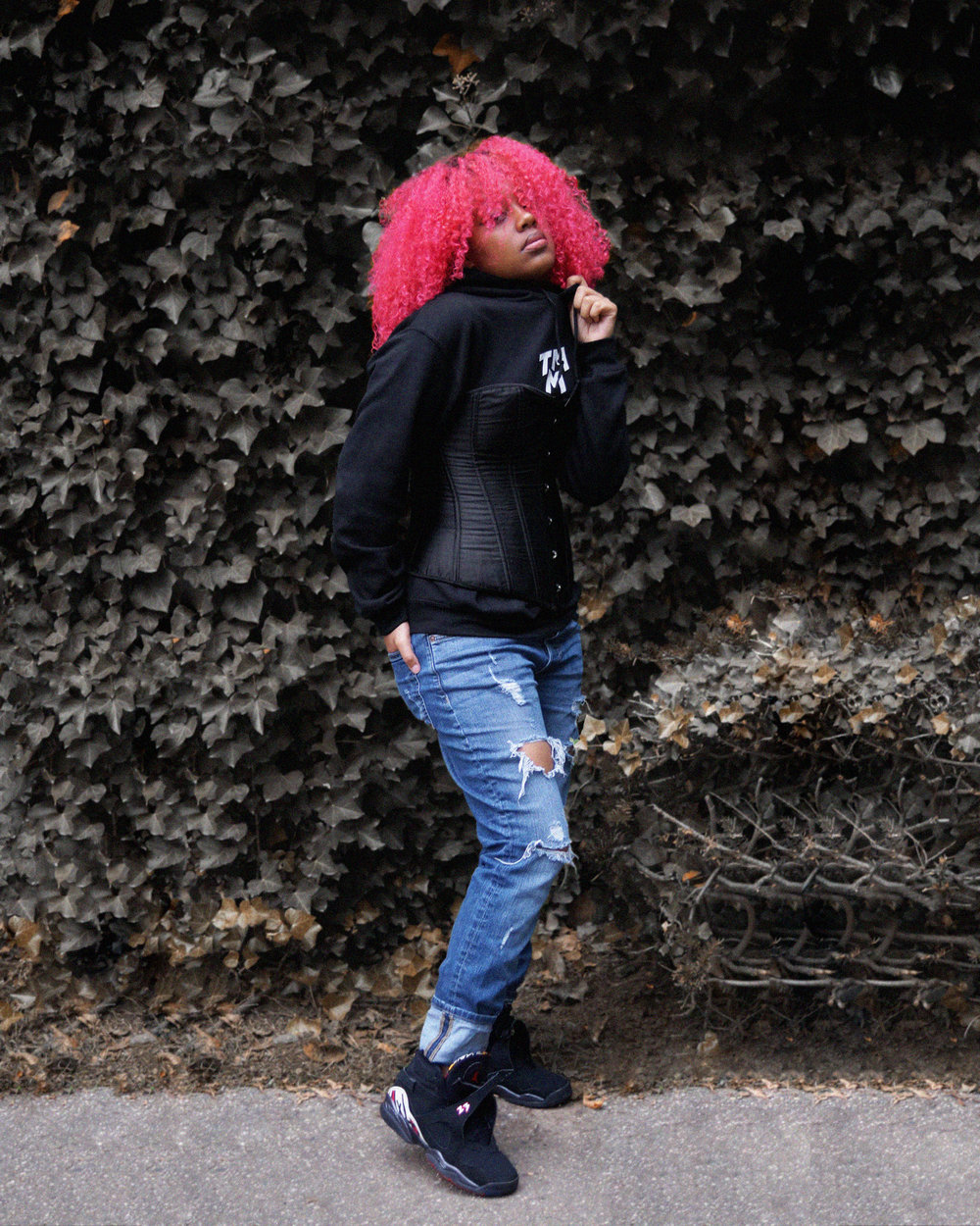 "Hoody: OURS! | Corset: Amazon | Jeans: H&M | Sneakers: J's ""8's"""