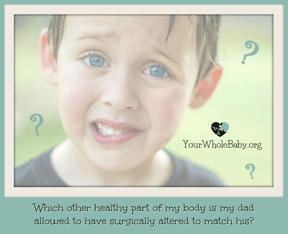 "Image: Worried boy surrounded by question marks. Text: ""Which other healthy part of my body is my dad allowed to have surgically altered to match his?"""