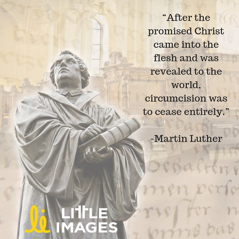 """Image: Martin Luther statue. Text: """"After the promised Christ came into the flesh and was revealed to the world, circumcision was to cease entirely. - Martin Luther"""" Little Images"""
